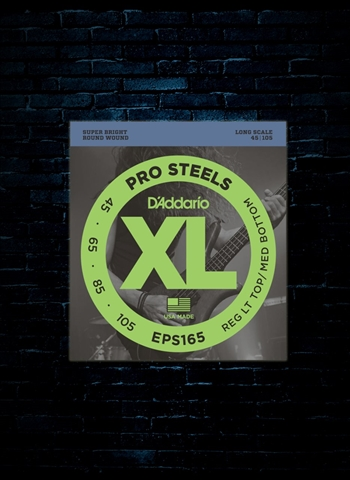 D'Addario EPS165 XL ProSteels Bass Strings - Custom Light (45-105)