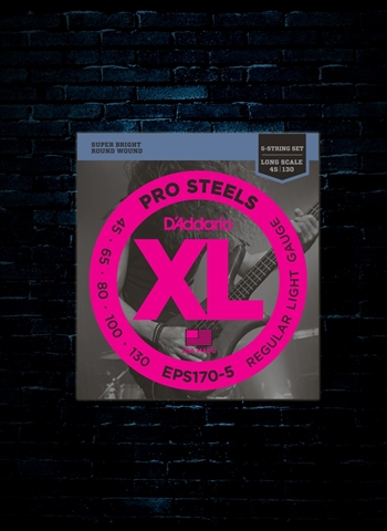 D'Addario EPS170-5 XL Pro Steels Bass Strings - 5-String - Regular Light (45-130)