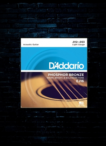 D'Addario EJ16 Phosphor Bronze Acoustic Strings - Light (12-53)