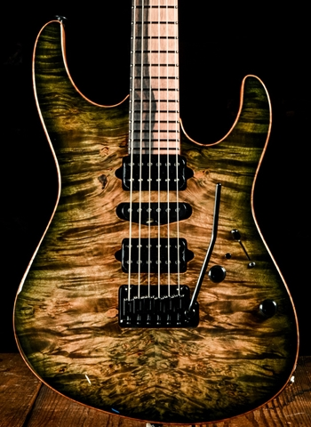 suhr modern custom waterfall burl maple pau ferro faded trans green burst. Black Bedroom Furniture Sets. Home Design Ideas