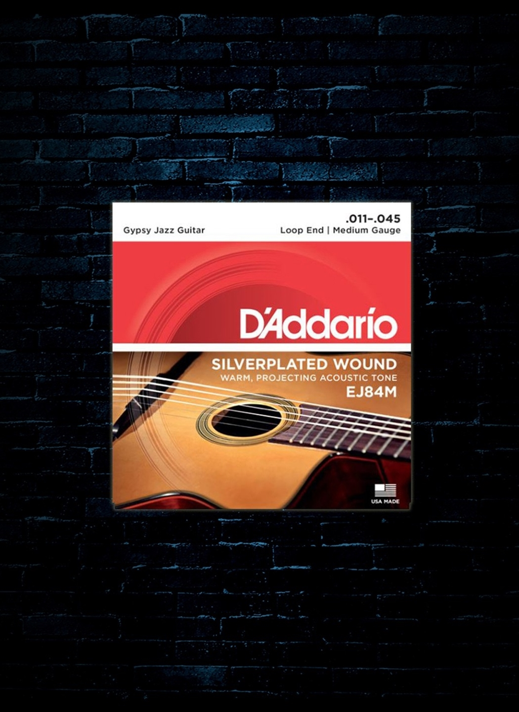 Medium D/'Addario EJ84M Gypsy Jazz Loop End Acoustic Guitar Strings 11-45