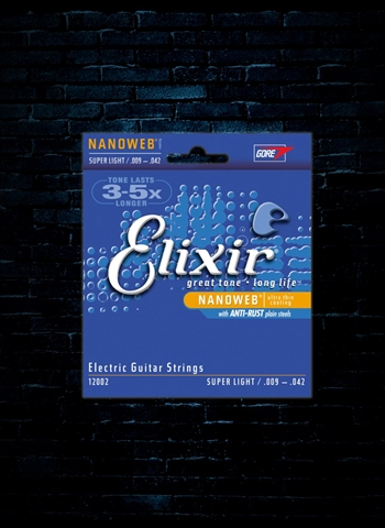 Elixir 12002 Nanoweb Nickel Plated Steel Strings - Super Light (9-42)
