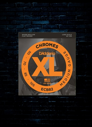 D'Addario ECB82 XL Chromes Flat Wound Bass Strings - Medium (50-105)