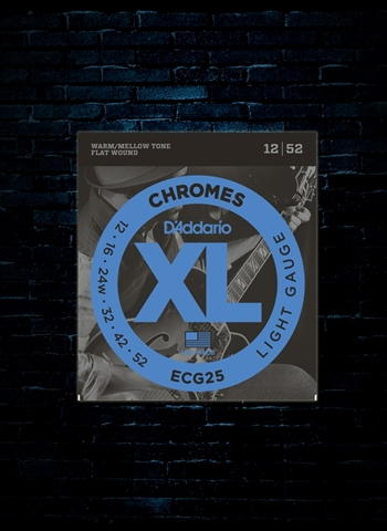 D'Addario ECG25 XL Chromes Flat Wound Electric Strings - Light (12-52)