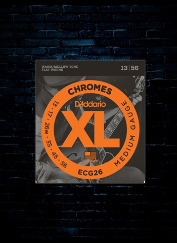 D'Addario ECG26 XL Chromes Flat Wound Electric Strings - Medium (13-56)