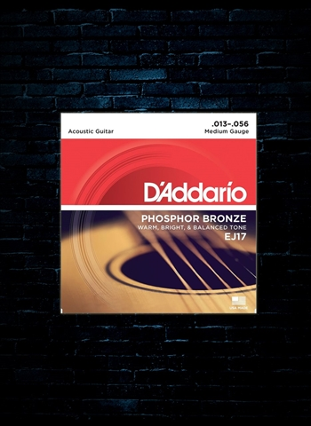 D'Addario EJ17 Phosphor Bronze Acoustic Strings - Medium (13-56)