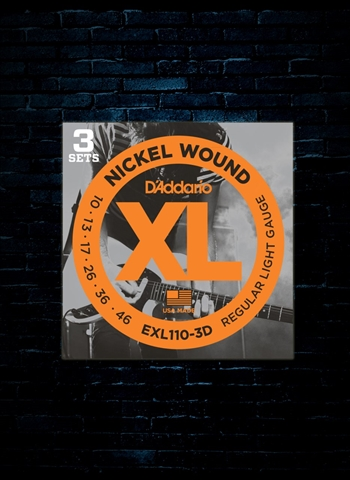 D'Addario EXL110 XL Nickel Wound Electric Strings (3 Pack) - Light (10-46)
