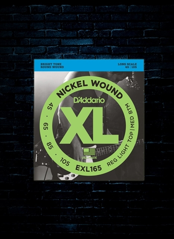 d 39 addario exl165 xl nickel wound bass strings long scale custom light 45 105. Black Bedroom Furniture Sets. Home Design Ideas