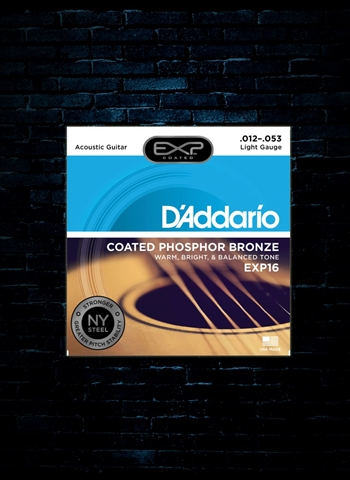 D'Addario EXP16 EXP Coated Phosphor Bronze Acoustic Strings - Light (12-53)