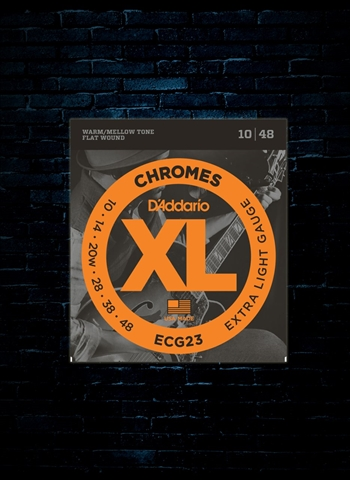 D'Addario ECG23 XL Chromes Flat Wound Electric Strings - Extra Light (10-48)