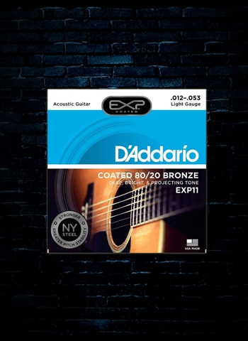 D'Addario EXP11 EXP Coated 80/20 Bronze Acoustic Strings - Light (12-53)