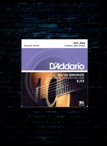 D'Addario EJ13 80/20 Bronze Acoustic Strings - Custom Light (11-52)