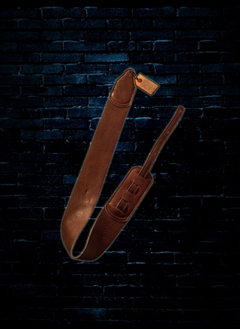"Long Hollow 71030 - 3"" Leather Soft Guitar Strap - Brown"