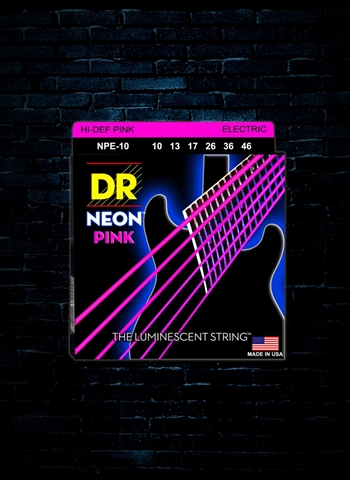 DR NPE-10 K3 NEON Pink Electric Strings - Medium (10-46)