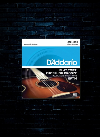 D'Addario EFT16 Phosphor Bronze Flat Top Acoustic Strings - Light (12-53)