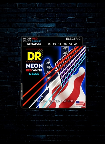 DR NUSAE-10 - K3 Neon Red, White and Blue Electric Strings - Med (10-46)