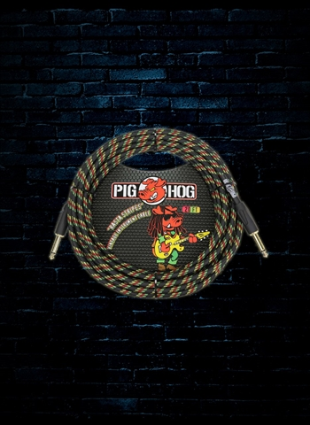 Pig Hog PCH20RA - 20' Rasta Stripes Instrument Cable
