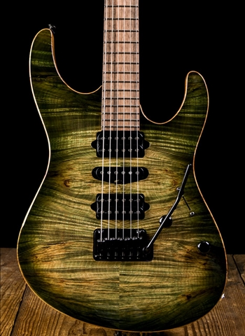 Suhr Modern Custom Waterfall Burl Maple/Pau Ferro - Faded Trans Green Burst