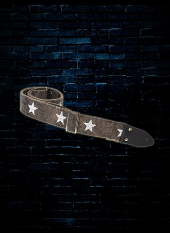 "Henry Heller HCOTRV-03 - 2"" Cotton Strap - Distressed Black with Stars"