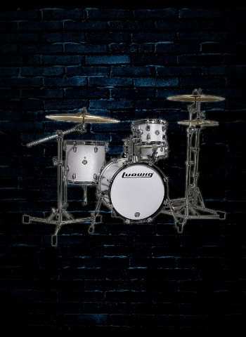 ludwig lc179 breakbeats 4 piece drum set white sparkle. Black Bedroom Furniture Sets. Home Design Ideas