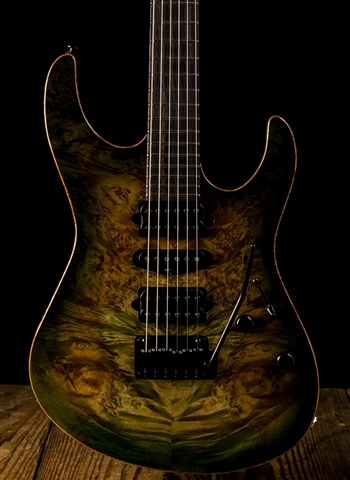 Suhr Modern Custom Waterfall Burl Maple/Genuine Mahogany - Faded Trans Green Burst