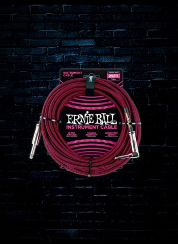 Ernie Ball 25' Braided Straight to Angle Instrument Cable - Black/Red