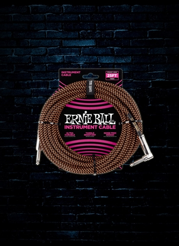 Ernie Ball 25' Braided Straight to Angle Instrument Cable - Black/Orange