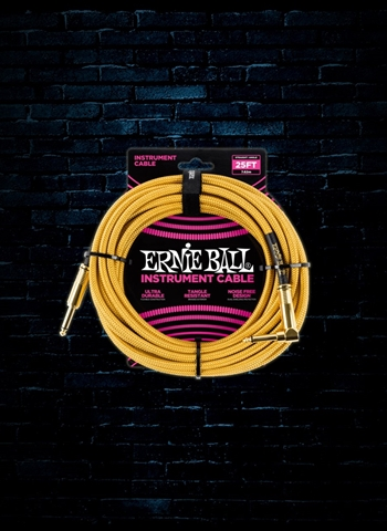 Ernie Ball 25' Braided Straight to Angle Instrument Cable - Gold