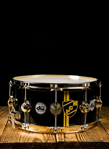 "Drum Workshop 6.5""x14"" Custom Collector's Series Snare Drum - ""Pittsburgh"" Candy Black/Gold Crests"