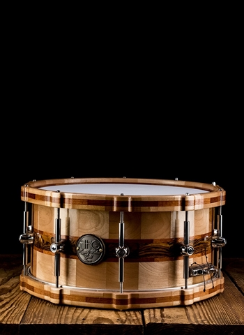 "HHG 7""x14"" Segmented Birch/Bocote/Paduck Snare Drum - Natural"