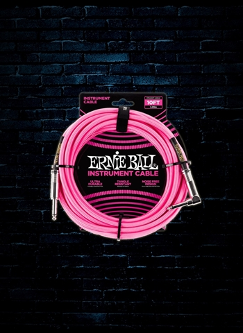 Ernie Ball 10' Braided Straight to Angle Instrument Cable - Neon Pink