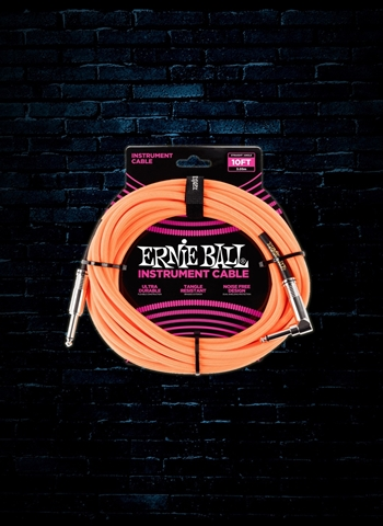 Ernie Ball 10' Braided Straight to Angle Instrument Cable - Neon Orange