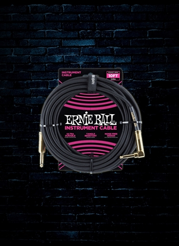 Ernie Ball 10' Braided Straight to Angle Instrument Cable - Black