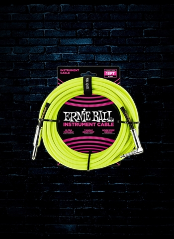 Ernie Ball 18' Braided Straight to Angle Instrument Cable - Neon Yellow