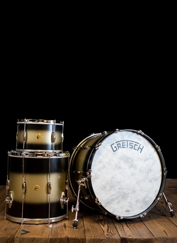 Gretsch Broadkaster Heritage Build 3-Piece Drum Set - Satin Black Gold Duco