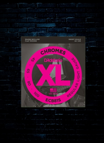 D'Addario ECB81S XL Chromes Flat Wound Bass Strings - Short Light (45-100)