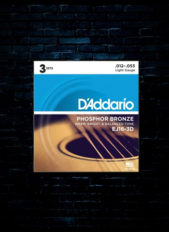 D'Addario EJ16 Phosphor Bronze Acoustic Strings (3 Pack) - Light (12-53)