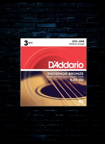 D'Addario EJ17 Phosphor Bronze Acoustic Strings (3 Pack) - Medium (13-56)