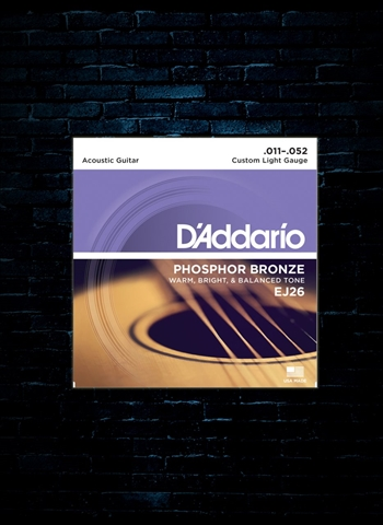 D'Addario EJ26 Phosphor Bronze Acoustic Strings - Custom Light (11-52)