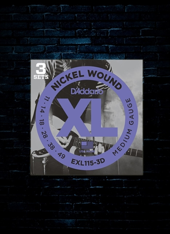 D'Addario EXL115 XL Nickel Wound Strings (3-Pack) - Medium (11-49)