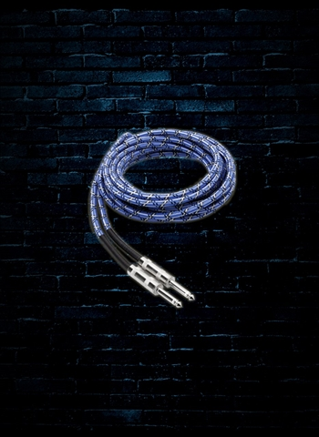 Hosa 3GT-18C1 - 18' Cloth Guitar Cable - Blue/White/Black