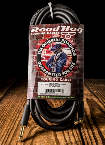 "Rapco HOG-20BR - 20' Roadhog 1/4"" to Right Angle Guitar Cable"