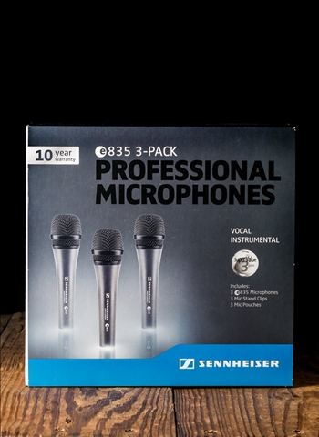 Sennheiser e835 Dynamic Cardioid Vocal Microphone (3 Pack)