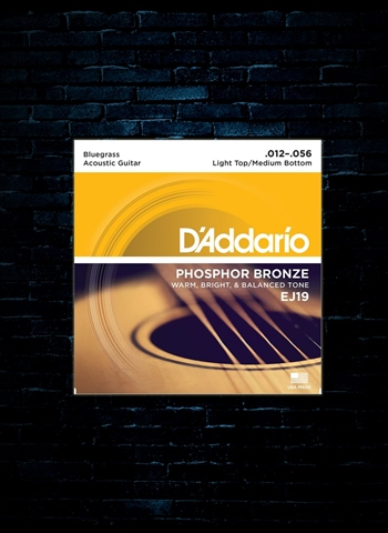 D'Addario EJ19 Phosphor Bronze Acoustic Strings - Bluegrass (12-56)