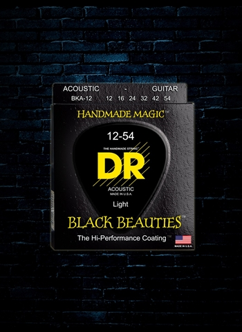 DR BKA-12 - K3 Black Beauties Acoustic Strings - Light (12-54)